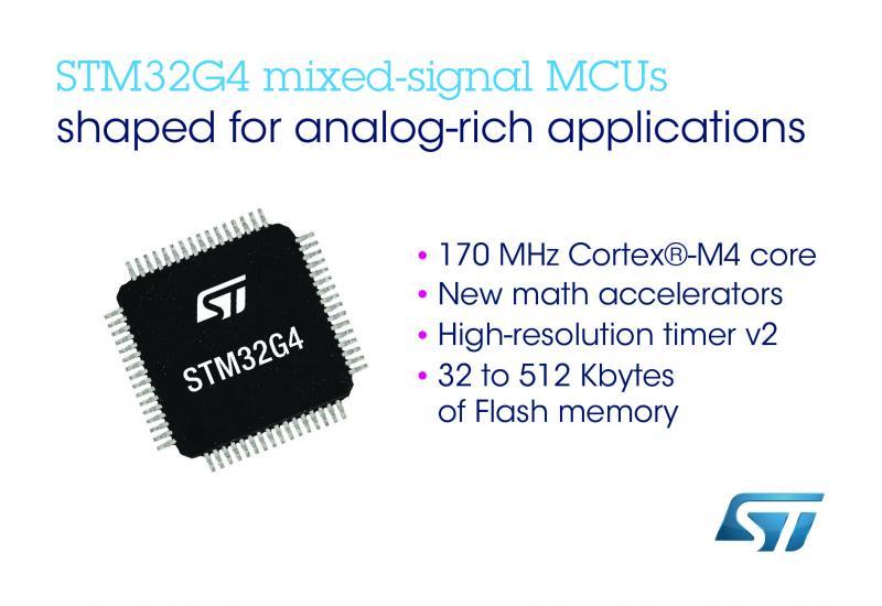 ST新闻稿5月29日——意法半导体发布STM32G4微控制器,提高下一代数字电源应用的性能、能效和安全性