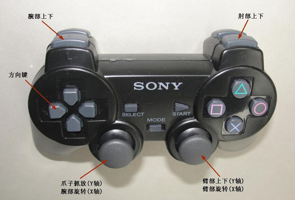 ps2电玩手柄,labview,32路舵机控制板和多自由度机械臂